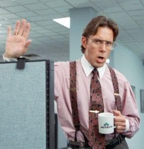 Office Space's Lunbergh wearing suspenders