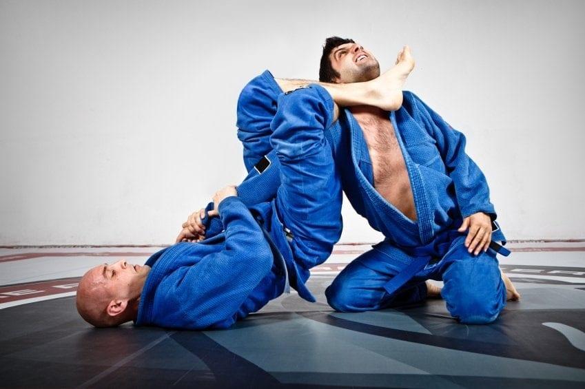 Two men practicing Brazilian Jiu Jitsu.