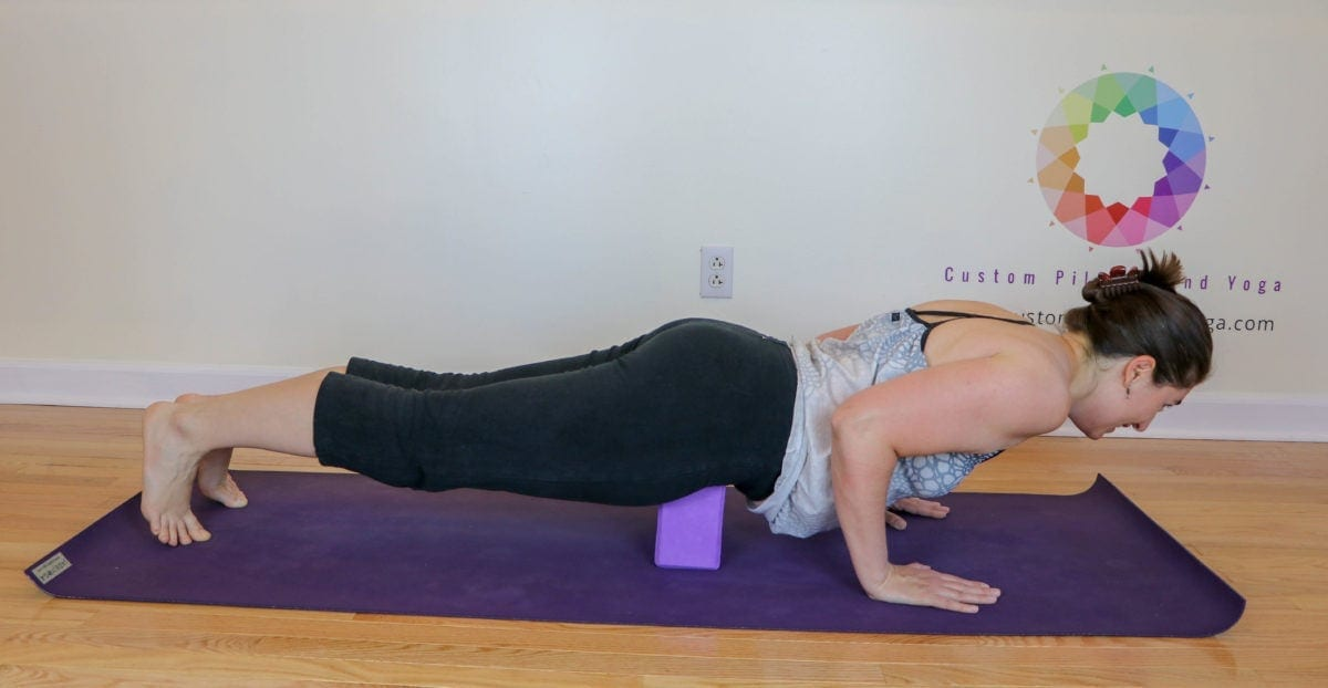 chatarunga dandasana with the block