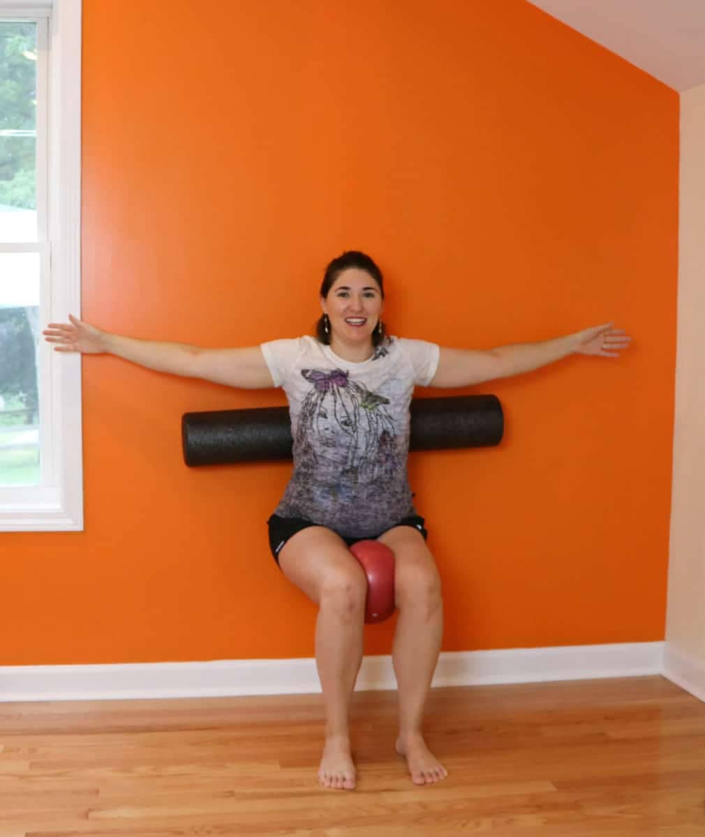 pilates squats with the foam roller