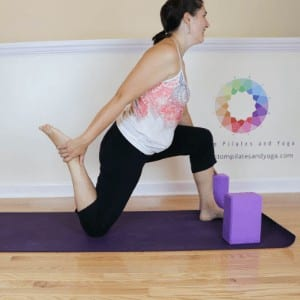How to practice a quad stretch in Anjaneyasana